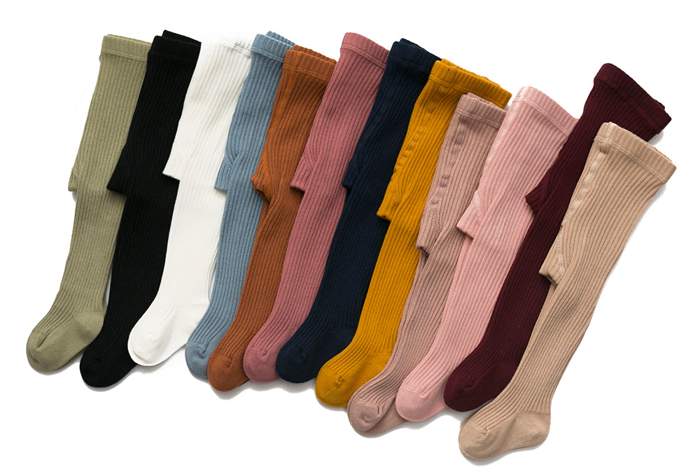 PREORDER: AW 2021: Classic Cotton Tights: 8pack (one colour each: white, black, navy, peach pink, cherry, dusty pink, olive, cream)