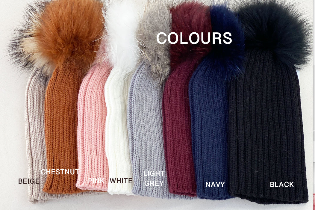 KOKO Beanie with double pom pom - size S and M, chery, chestnut, pink, light pink, white, beige, navy, light grey