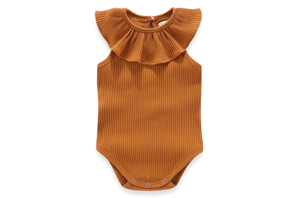 Florence Frilly Collar Sleeveless 100% cotton bodysuit - 0-3M, 3-6M, 6-12M, 1-2Y