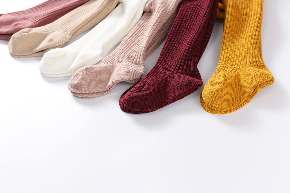 PROMO: BUNDLE OF 11:  Classic cotton ribbed tights: 0-6M,6-12M, 1-2Y, 2-3Y, 3-4Y, 5-6Y, ONE COLOUR EACH