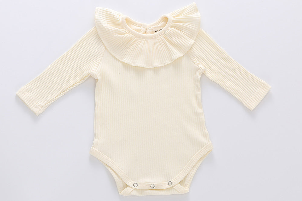 Florence long sleeves bodysuit - 100% cotton: 0-3M, 3-6M, 6-12M, 1-2Y : white