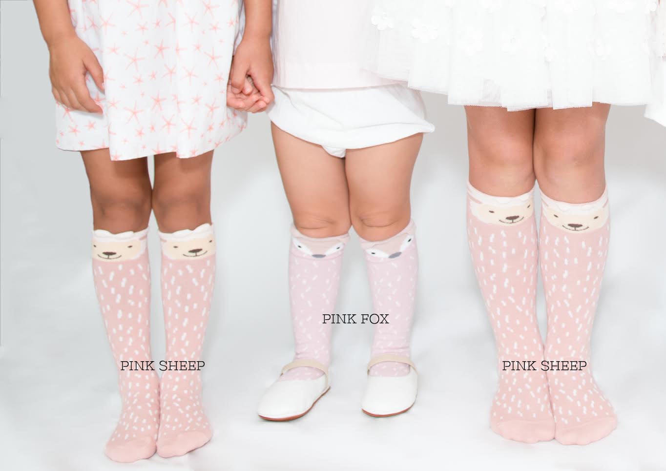 Little Pink Fox - high knee socks: 0-1Y, 1-3Y, 3-5Y