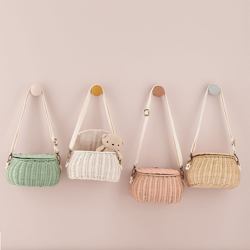 Mini Chari Bag - Rose, white, green, straw