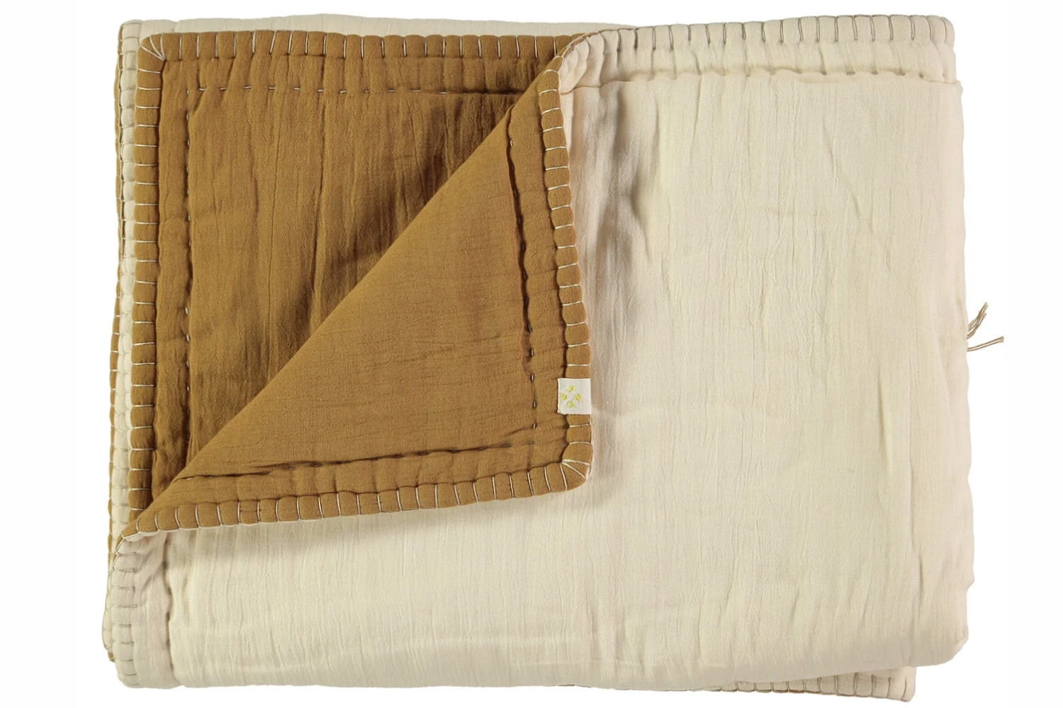 Cotton Filled Reversible Quilt - Ochre Golden and Stone