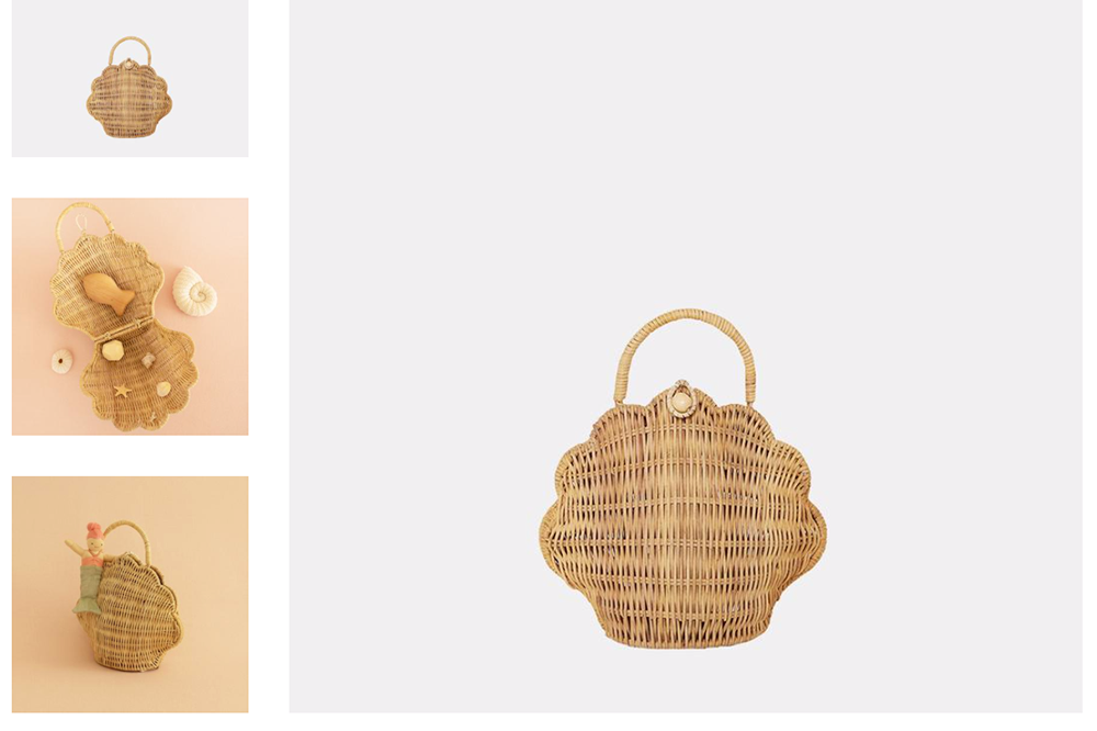 SHELL BAG: Rose or straw