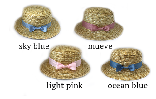Summer Straw Hat with hand stitched ribbon with bow - 15 colours available