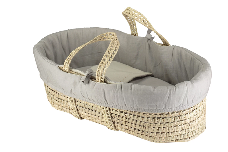 Basket + Reversible soft gauze Moses basket bedding 4 piece set - Grey/ Stone:  Made in portugal