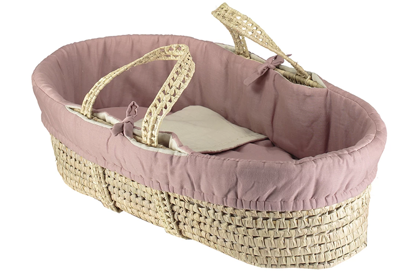 Basket + Reversible soft gauze Moses basket bedding 4 piece set - Rose Blush/ Stone:  Made in portugal