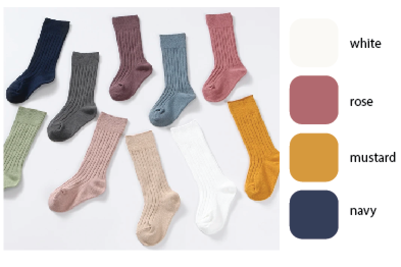 Ribbed cotton high knee socks - preorder