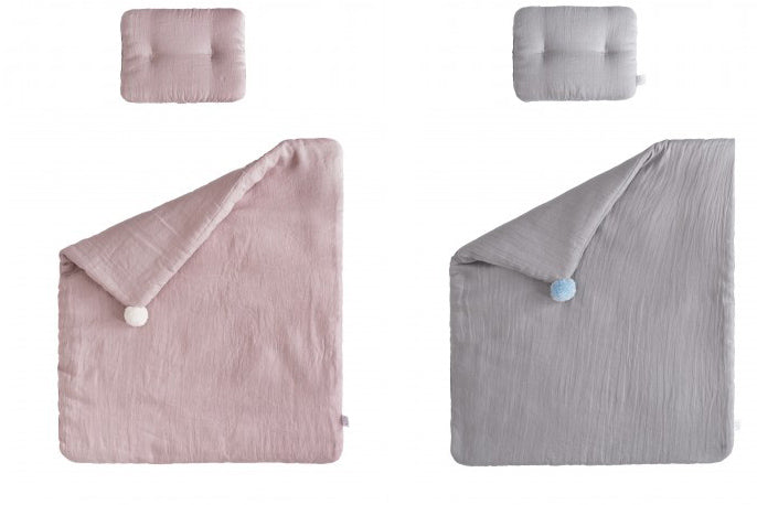 2 pcs set: Pure Linen bedding Quilt & Pillow Set: Colours available: dusty pink & grey