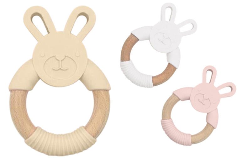 Kobby Bunny Teether : blush, beige, white, grey