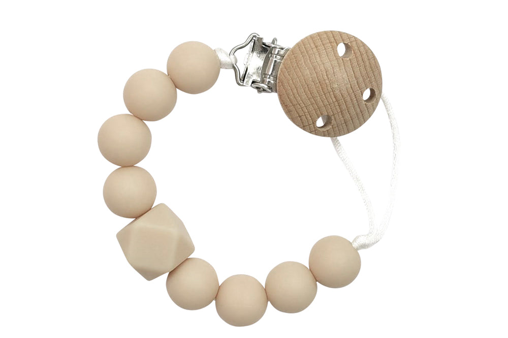 Kobby Silicone Beads Pacifier Clips - beige