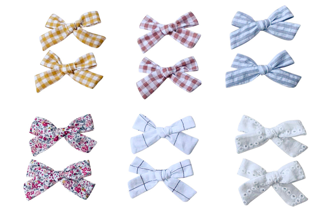 Fiorentina Bow - 2pcs set - handmade item, prefect for pigtails: white, pink, natural