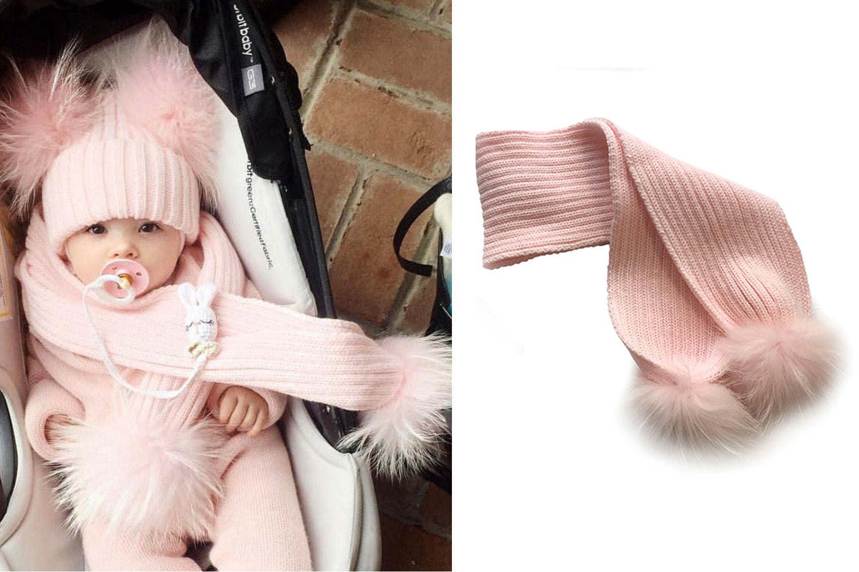 Scarf with Pom Pom - kids & adult size, pink, chestnut, white, beige, light grey
