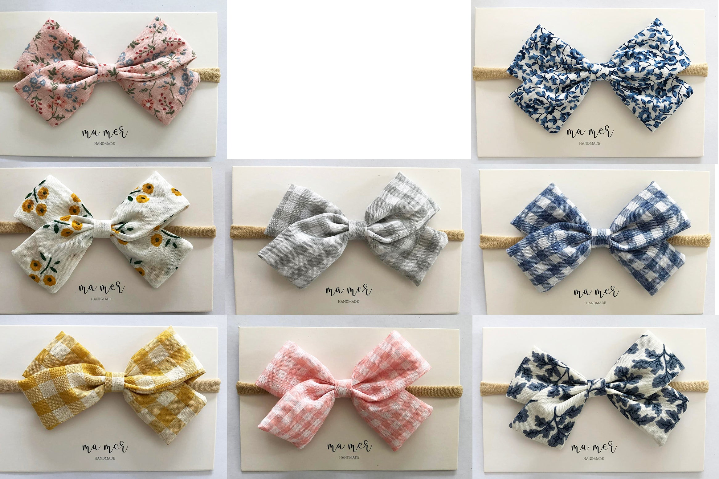Valeria Handmade Bow: hair bows clip or elastic headbands