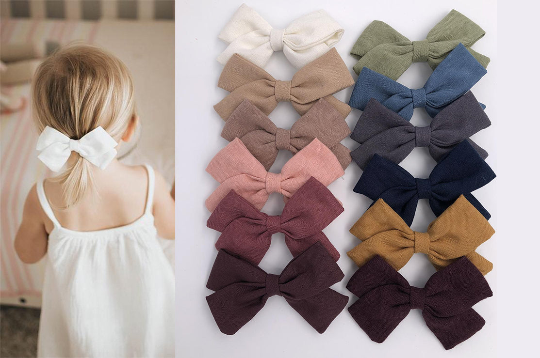 VALERIA BOW - handmade item: 12 colours available: hair bows clip or elastic headbands