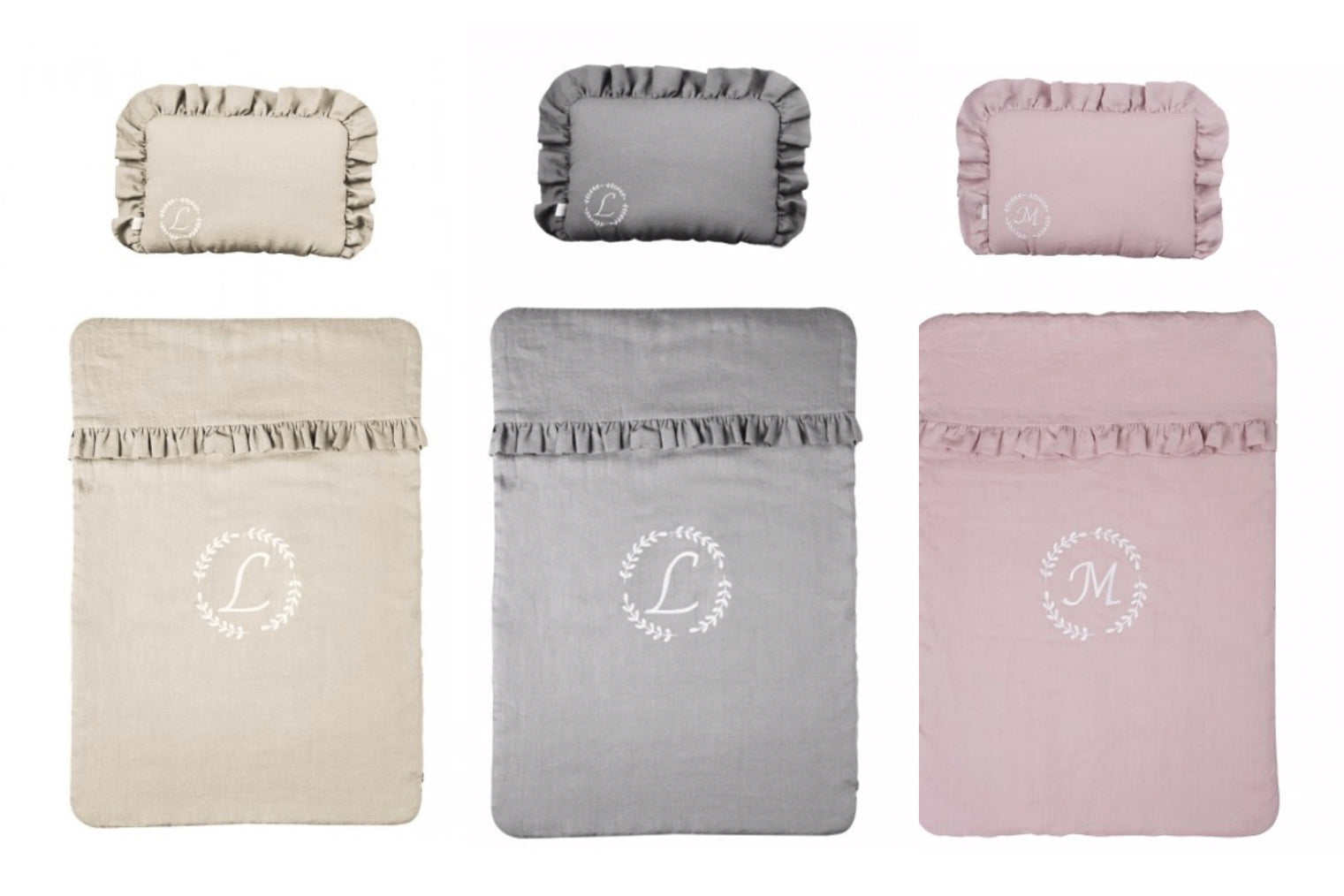 Handmade Personalised Linen Quilt + pillow case: 3 sizes: personalised with initial.
