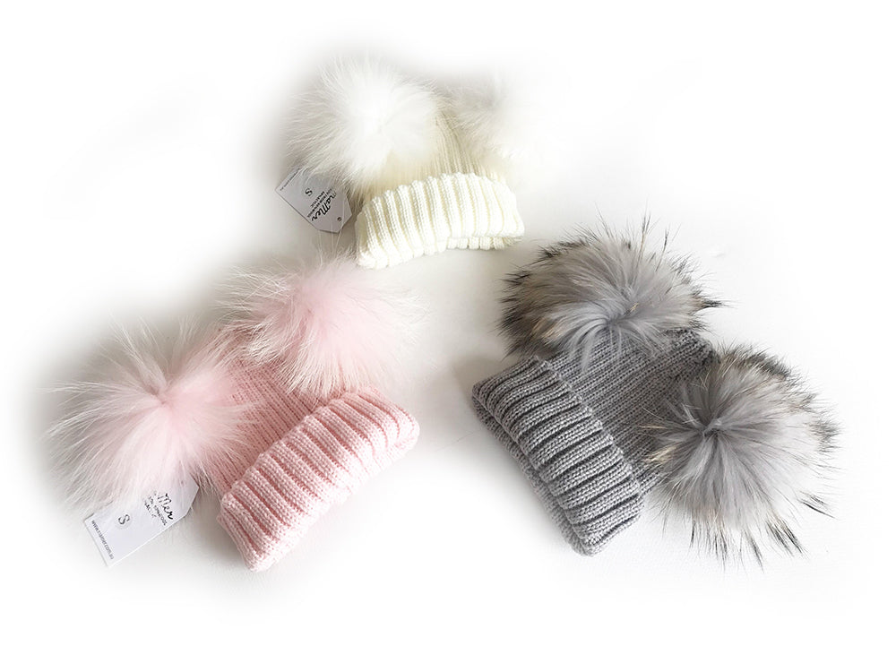 Mikki Beanie with double pom pom - black, light pink, white, light grey