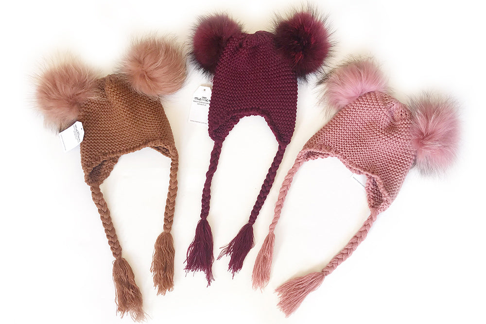 KOKO Beanie with double pom pom - Size S and M, cherry, rose, chestnut