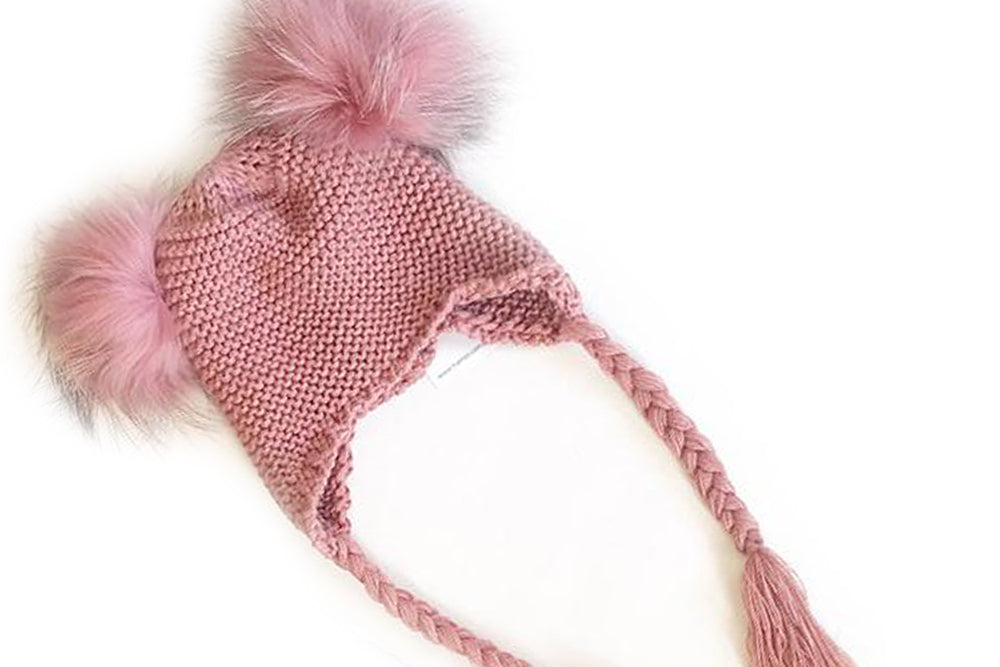 KOKO Beanie with double pom pom - rose or cherry colour, size M (3-10Y)