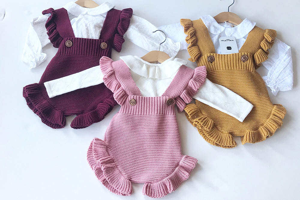 Lilly knitted playsuit - 100% cotton - pink or mustard: 0-6M, 6-12M, 1-2Y, 2-3Y