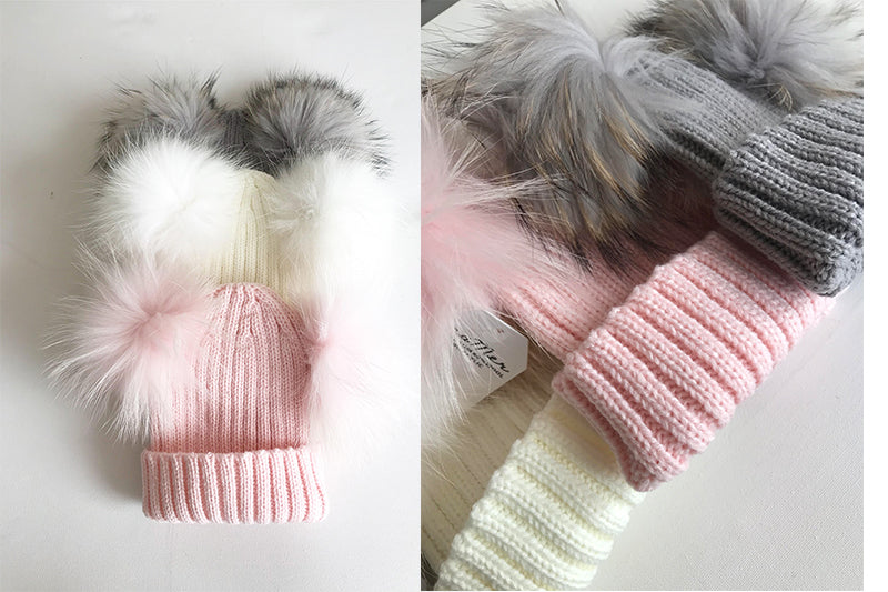 Mikki Beanie with double pom pom: S and M, pink, cherry, white, light grey