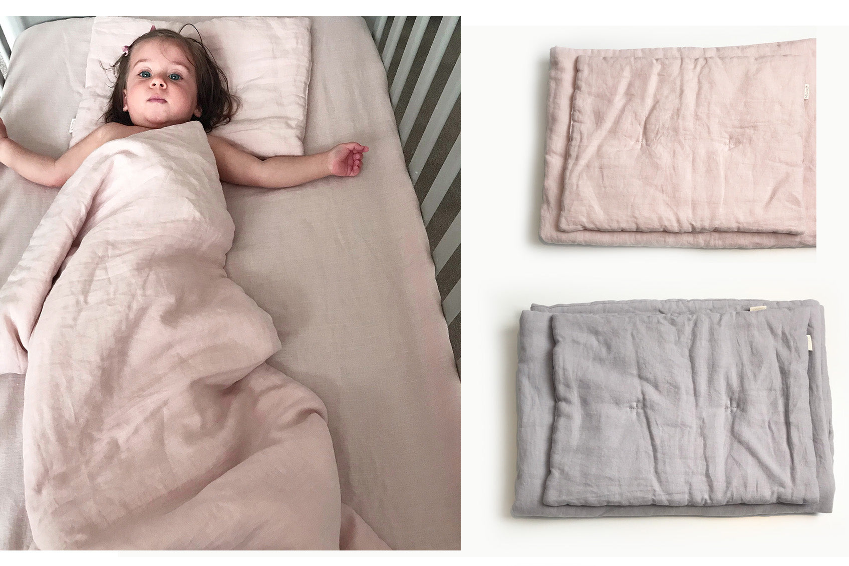 Pure linen cot fitted sheet: Dusty Pink & Grey
