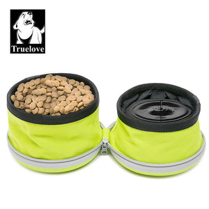 Truelove Collapsible 2 Way Use Dog Bowl Double for Food Mat Travel Waterproof Foldable Running Walking Hiking Camping