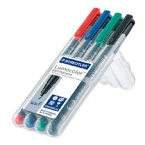 LUMOCOLOUR UNIVERSAL MARKING PEN PERMANENT FINE 0.6 ASSORTEDWALLET OF 4