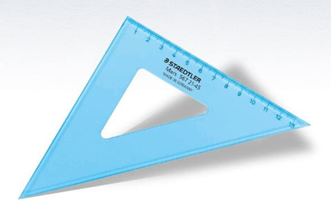 SET SQUARE 25CM TRANSLUCENT BLUE