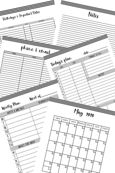 2020 Monthly Planner - Black & White Stripe