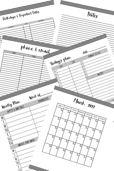 2021 Monthly Planner - Black & White Stripe