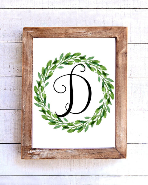 Monogram D Wreath Printable Wall Art