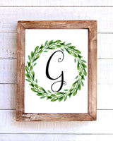 Monogram G Wreath Printable Wall Art