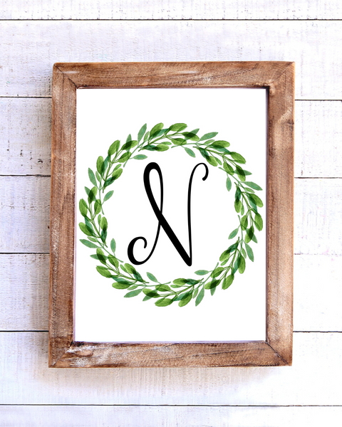 Monogram N Wreath Printable Wall Art