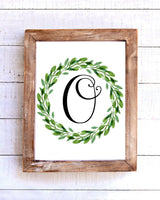 Monogram O Wreath Printable Wall Art