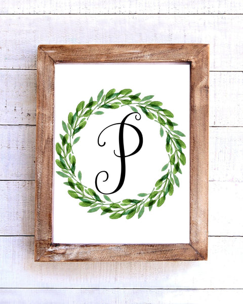 Monogram P Wreath Printable Wall Art