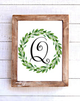 Monogram Q Wreath Printable Wall Art