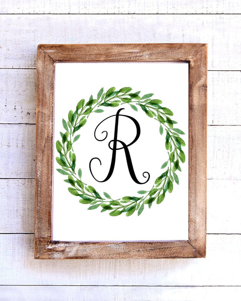 Monogram R Wreath Printable Wall Art