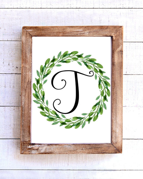 Monogram T Wreath Printable Wall Art
