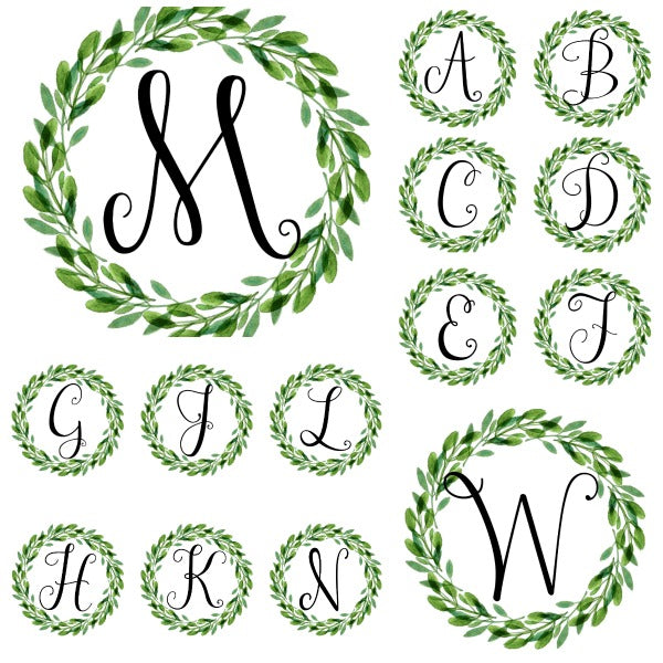 Farmhouse Wreath Monograms Printable Wall Art  {26 pages}