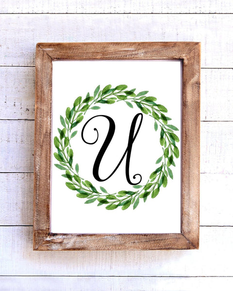 Monogram U Wreath Printable Wall Art