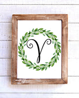 Monogram V Wreath Printable Wall Art