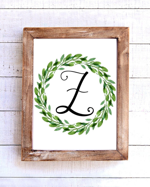 Monogram Z Wreath Printable Wall Art