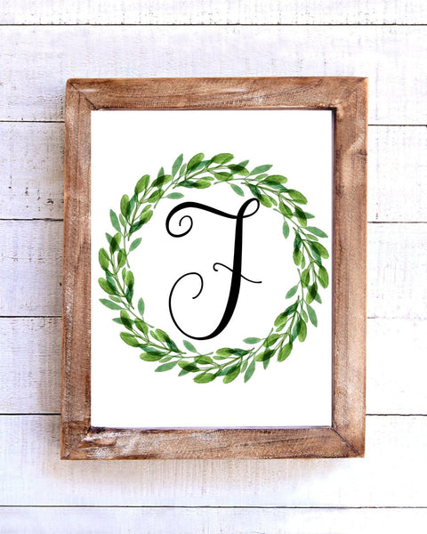 Monogram F Wreath Printable Wall Art