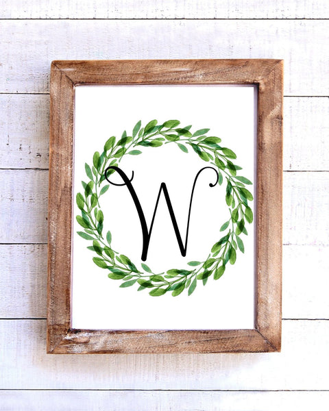 Monogram W Wreath Printable Wall Art