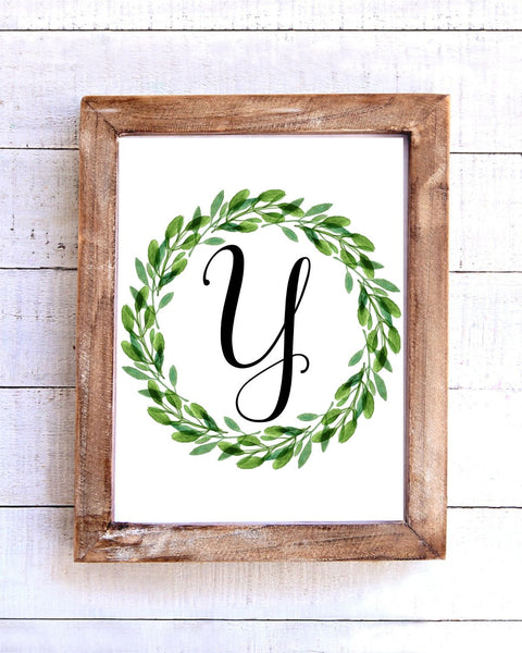 Monogram Y Wreath Printable Wall Art