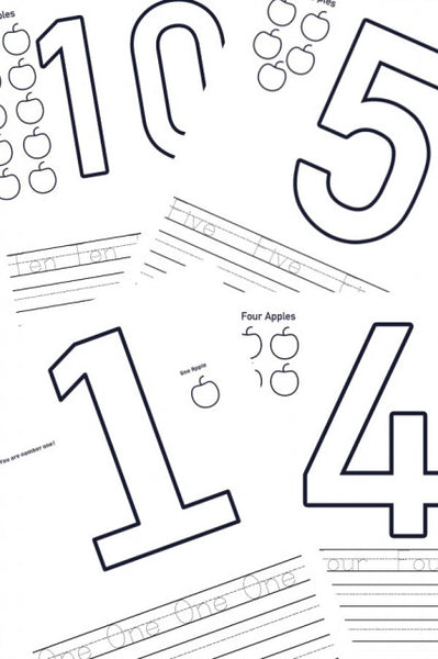 Numbers 1-10 Coloring Pages and Writing Practice