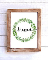 """Blessed"" Farmhouse Wreath Printable Wall Art"