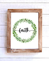 """Faith"" Farmhouse Wreath Printable Wall Art"